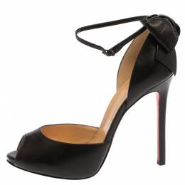 Christian Louboutin Black Leather Dos Noeud Bow Pumps Size 38.5 371120