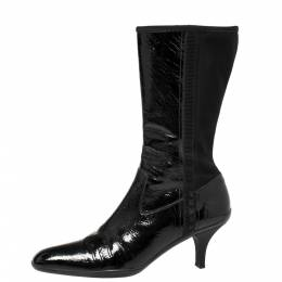 Prada Sport Black Patent Leather And Fabric Mid-Length Boots Size 39.5 371128
