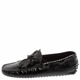 Tod's Black Patent Leather Bow Slip On Loafers Size 39.5 368934