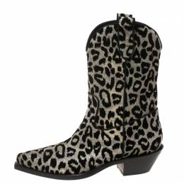 Dolce and Gabbana Silver/Gold Leopard Lurex Fabric Cowboy Boots Size 41 369430