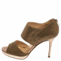 Jimmy Choo Gold /Bronze Glitter Fabric Lagoon Platform Sandals Size 37.5 371431