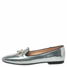 Tod's Metallic Silver Patent Leather Double T-Smoking Slippers Size 36.5 371419