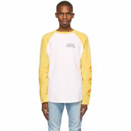 Palm Angels White and Yellow Smiley Edition Burning Head Long Sleeve T-Shirt PMAB003R21JER0010118