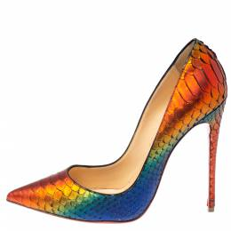 Christian Louboutin Metallic Multicolor Python Pigalle Pointed Toe Pumps Size 38 370400