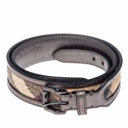 Burberry Metallic Grey/Beige Floral Embossed Check Canvas and Leather Trim Belt 90CM 372351