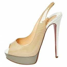 Christian Louboutin Beige Patent Leather Lady Peep Toe Slingback Sandals Size 37 371442