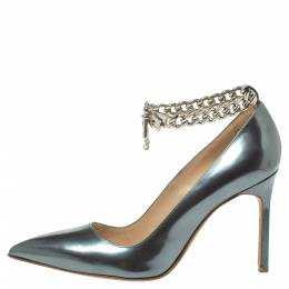 Manolo Blahnik Grey Metallic Leather Chain Link Pointed Toe Pumps Size 37 372462