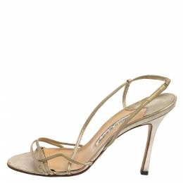 Manolo Blahnik Light Gold Leather Strappy Slingback Sandals Size 37.5 371149