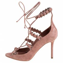 Alaia Beige Suede Bombe Embellished Open Toe Ankle Wrap Sandals Size 39 372416