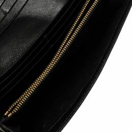 Prada Black Saffiano Lux Leather Flap Continental Wallet 373619