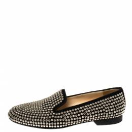 Christian Louboutin Black Suede Rollerboy Studed Loafers Size 38.5 373592