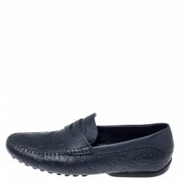 Gucci Navy Blue Guccissima Leather Penny Slip On Loafers Size 40 370425