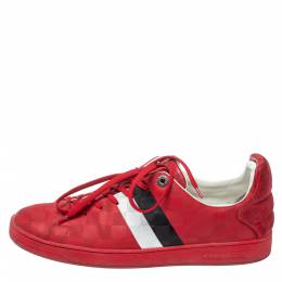 Louis Vuitton Red Suede And Leather Damier Infini Frontrow Sneakers Size 42 374655