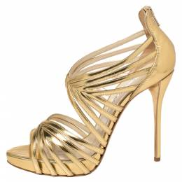 Oscar de la Renta Metallic Gold Leather Bree Cage Sandals Size 38.5 374531