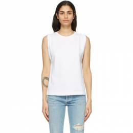 Citizens of Humanity White Jordana Rolled Sleeve Tank Top 9171-1208