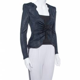 Armani Collezioni Navy Blue Glitter Embellished Button Front Light Weight Jacket S 375557