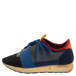 Balenciaga Multicolor Mesh And Suede Race Runner Sneakers Size 39 374601