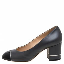 Chanel Grey/Black Patent And Leather Cap Toe Block Heel Pumps Size 37.5 375242