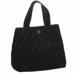 Chanel Black Quilted Suede Vintage CC Tote Bag 369629