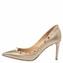 Valentino Metallic Gold Leather Rockstud Pumps Size 37 373464