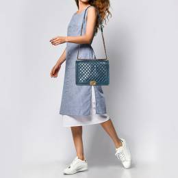 Chanel Blue Quilted Leather Large Boy Flap Bag 373314