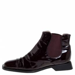 Chanel Burgundy Patent Leather Elastic Ankle Boots Size 37.5 396036
