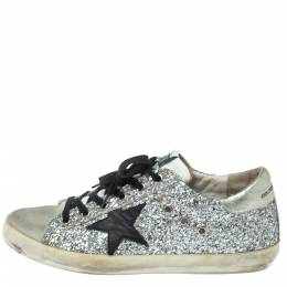 Golden Goose Deluxe Brand Silver Glitter And Suede Superstar Low Top Sneakers Size 39 372730