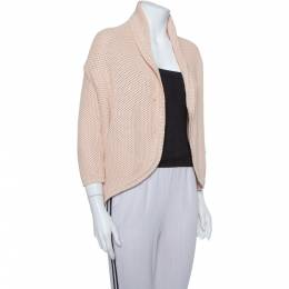 Max Mara Pink Open Knit Open Front Jacket S 374128