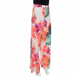 Alice+Olivia Multicolor Abstract Printed Crepe Wide Leg Palazzo Pants S 374122
