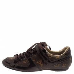 Louis Vuitton Brown Monogram Canvas And Patent Leather Low Top Sneakers Size 36 375933