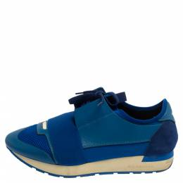 Balenciaga Blue Mesh And Leather Race Runner Low Top Sneakers Size 40 376049