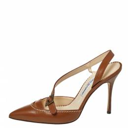 Manolo Blahnik Tan Leather Buckle Strap Pointed Toe Sandals Size 37 373773