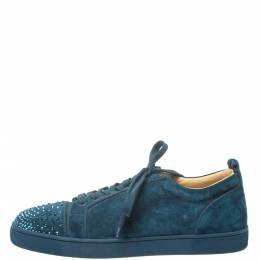 Christian Louboutin Blue Suede Louis Junior Degra Strass Low Top Sneakers Size 45.5 373832