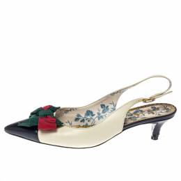 Gucci White Leather Jane Bow Slingback Sandals Size 37 372170