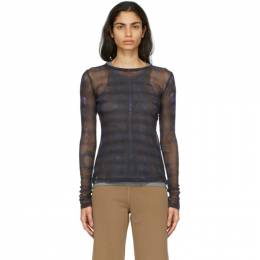 Raquel Allegra Purple Mesh Long Sleeve Top Y07-1822TD