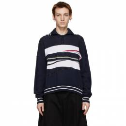 Y / Project Navy and White Slash Polo MPULL57-S20