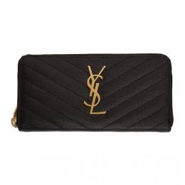 Saint Laurent Black Monogram Grain De Poudre Zip Wallet 358094 BOW01