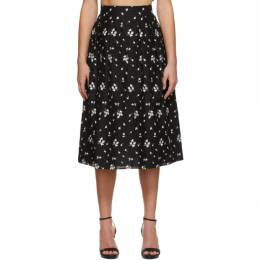 Erdem Black Embroidered Reed Skirt PS21_4573BECL