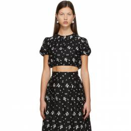 Erdem Black Embroidered Romi Cropped T-Shirt PS21_5980BECL