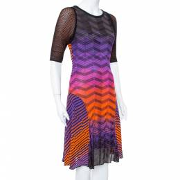 M Missoni Multicolor Knit Paneled Midi Dress L 376311