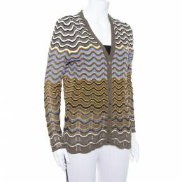 M Missoni Olive Green Contrast Pattern Sheer Knit Button Front Cardigan L 376301