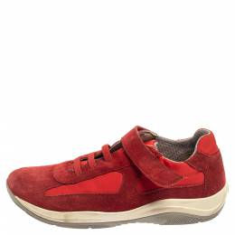 Prada Sport Red Suede and Nylon Low Top Sneaker Size 34 376263