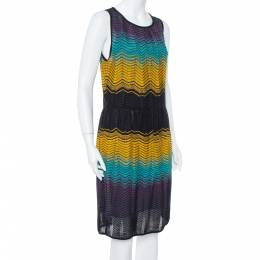 M Missoni Muticolor Chevron Patterned Pointelle Knit Dress L 376808