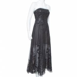 Oscar de la Renta Black Sequin Embellished Mesh Strapless Midi Dress S 377032