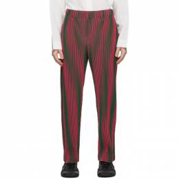 Homme Plisse Issey Miyake Pink and Green Hologram Stripe Trousers HP08JF238