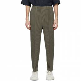 Homme Plisse Issey Miyake Khaki Pleats Bottoms 2 Creased Trousers HP08JF135