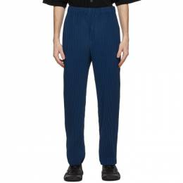 Homme Plisse Issey Miyake Navy Heather Pleats Trousers HP08JF144