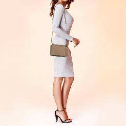 Dkny Beige Leather Logo Flap Crossbody Bag 377236