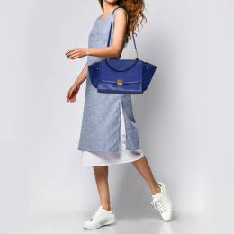 Celine Blue Leather and Suede Medium Trapeze Top Handle Bag 377818