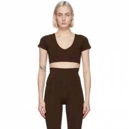 Live The Process Brown Crystal Short Sleeve Sport Top 426